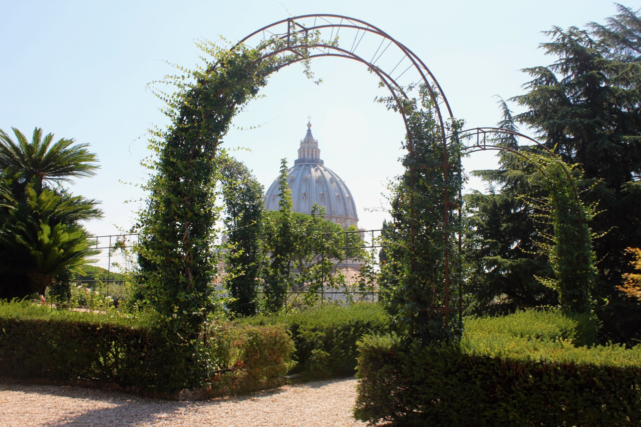 at the gardens behind the vatican, you can see stunning views of st peter's dome