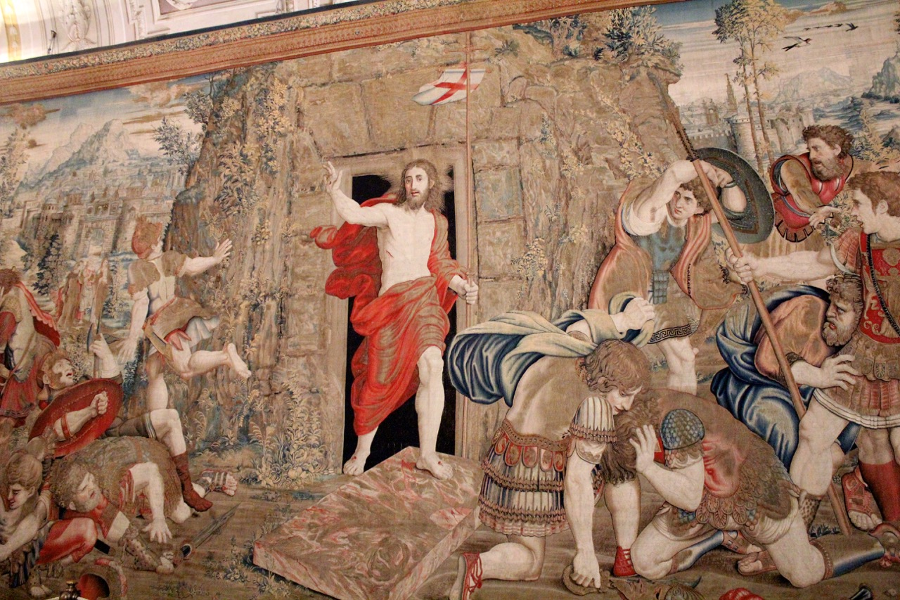 resurrection of christ in tapestry gallery of vatican museums