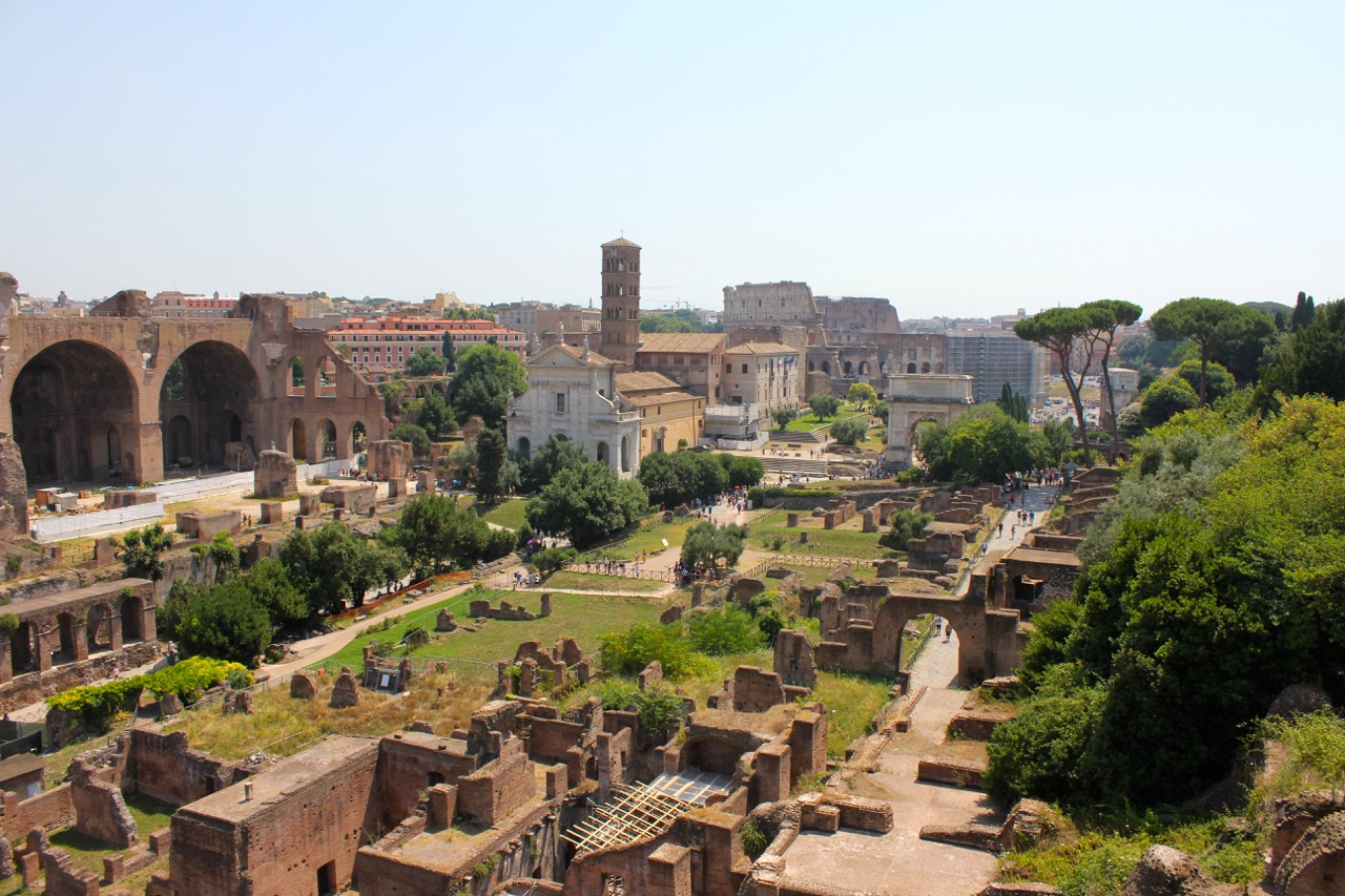 view to colosseum and roman forum from palatine hill