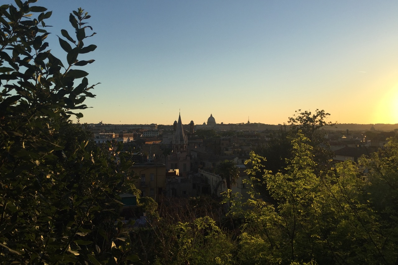 sunset with view of st peters from pincio